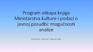 Program otkupa knjiga Ministarstva kulture i podaci o