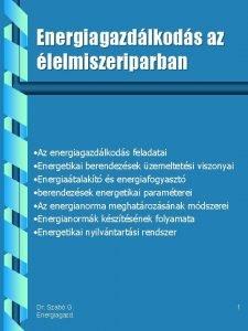 Energiagazdlkods az lelmiszeriparban Az energiagazdlkods feladatai Energetikai berendezsek
