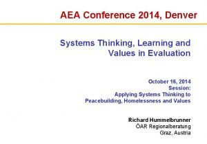 AEA Conference 2014 Denver Systems Thinking Learning and