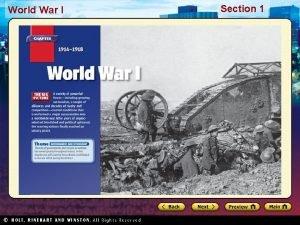 World War I Section 1 Section 1 World