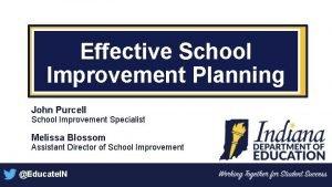 Effective School Improvement Planning John Purcell School Improvement