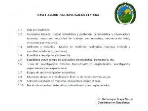 TEMA 1 ESTADISTICA E INVESTIGACION CIENTIFICA Dr Carlomagno