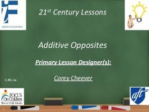 21 st Century Lessons Additive Opposites Primary Lesson