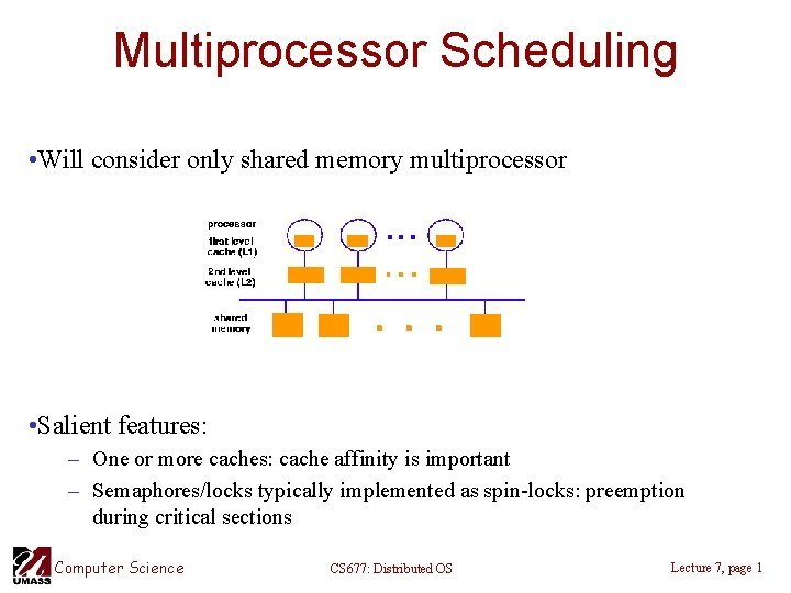 Multiprocessor Scheduling Will consider only shared memory multiprocessor