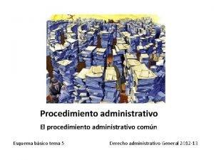 Procedimiento administrativo El procedimiento administrativo comn Esquema bsico