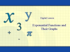 Digital Lesson Exponential Functions and Their Graphs Copyright