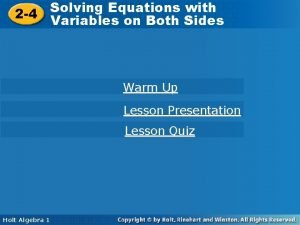 Solving Equations with Solving Equations 2 4 Variables