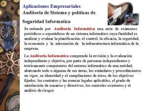 Aplicaciones Empresariales Auditoria de Sistema y polticas de