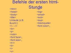 Befehle der ersten html Stunde s html head