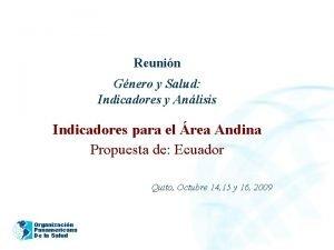 2005 Reunin Gnero y Salud Indicadores y Anlisis
