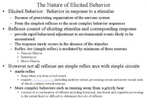 The Nature of Elicited Behavior Elicited Behavior Behavior