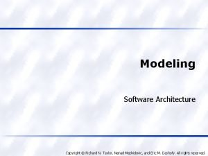 Modeling Software Architecture Copyright Richard N Taylor Nenad