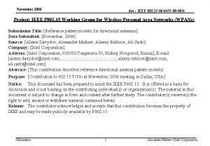 November 2006 doc IEEE 802 15 06 0455
