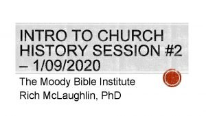 The Moody Bible Institute Rich Mc Laughlin Ph