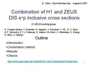 E Tassi Zeus Monday mtg August 6 2007