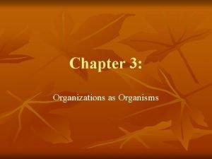 Chapter 3 Organizations as Organisms Organisms n n