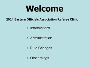Welcome 2014 Eastern Officials Association Referee Clinic Introductions