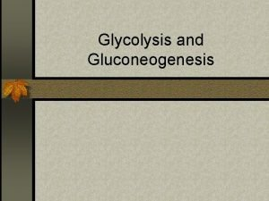 Glycolysis and Gluconeogenesis Glycolysis n What is glycolysis