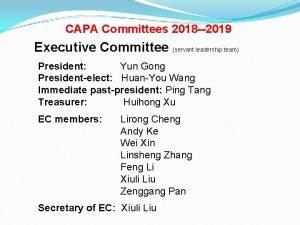 CAPA Committees 2018 2019 Executive Committee servant leadership