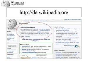 http de wikipedia org Willkommen in der Wikipedia