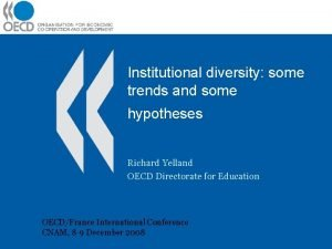 Institutional diversity some trends and some hypotheses Richard