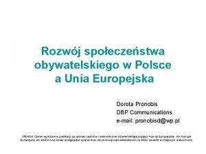 Rozwj spoeczestwa obywatelskiego w Polsce a Unia Europejska