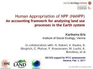 Human Appropriation of NPP HANPP An accounting framwork