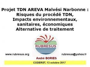 Projet TDN AREVA Malvsi Narbonne Risques du procd