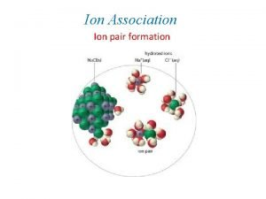 Ion Association Ion pair formation Ion Association Ion