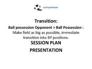 Transition Ball possession Opponent Ball Possession Make field