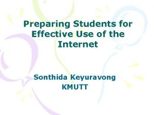 Preparing Students for Effective Use of the Internet