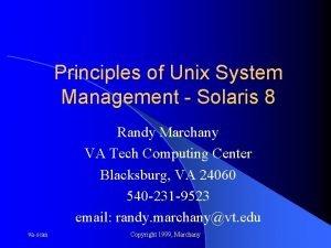 Principles of Unix System Management Solaris 8 Randy