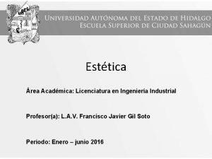 Esttica rea Acadmica Licenciatura en Ingeniera Industrial Profesora