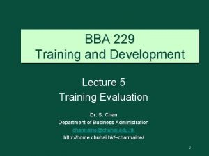 BBA 229 Training and Development Lecture 5 Training