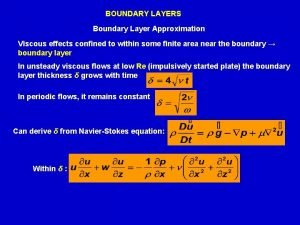 BOUNDARY LAYERS Boundary Layer Approximation Viscous effects confined