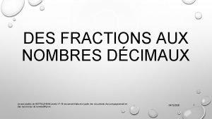 DES FRACTIONS AUX NOMBRES DCIMAUX circonscription de WITTELSHEIM