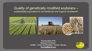 Quality of genetically modified soybeans substantially equivalent to