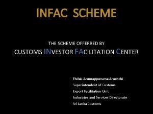 INFAC SCHEME THE SCHEME OFFERRED BY CUSTOMS INVESTOR