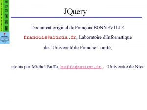 JQuery Document original de Franois BONNEVILLE francoisaricia fr