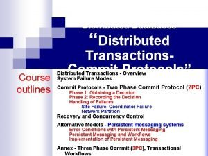 Distributed Databases Distributed Course outlines Transactions Commit Protocols