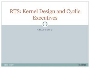 RTS Kernel Design and Cyclic Executives 1 CHAPTER