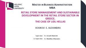 MASTER IN BUSINESS ADMINISTRATION MBA RETAIL STORE MANAGEMENT