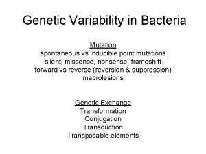 Genetic Variability in Bacteria Mutation spontaneous vs inducible