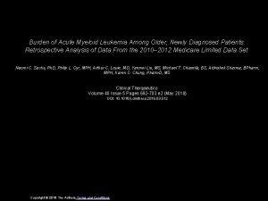 Burden of Acute Myeloid Leukemia Among Older Newly