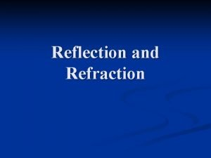 Reflection and Refraction Reflection When a wave reaches