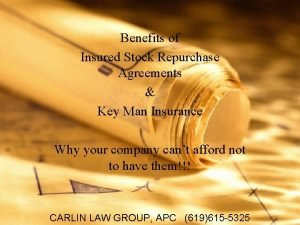 Benefits of Insured Stock Repurchase Agreements Key Man