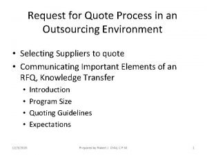 Request for Quote Process in an Outsourcing Environment