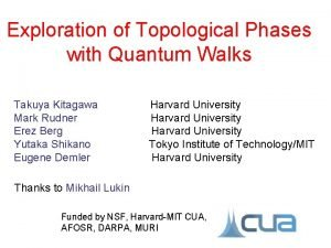Exploration of Topological Phases with Quantum Walks Takuya