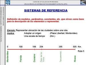 CURSO DE ACTUALIZACION PROFESIONAL SISTEMAS DE REFERENCIA Definicin