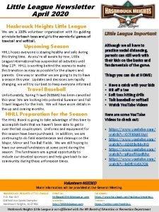 Little League Newsletter April 2020 Hasbrouck Heights Little